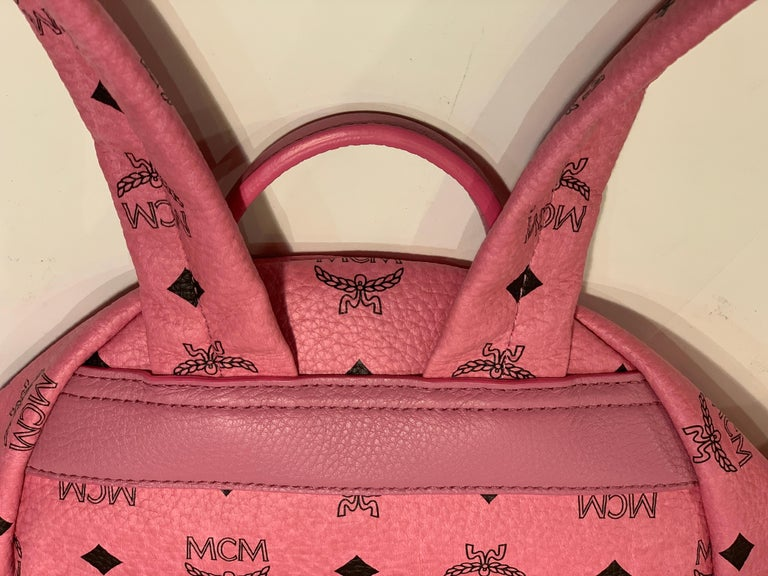 MCM Worldwide Medium Stark Backpack Pink and Black Visetos with Gold Studs For Sale 3