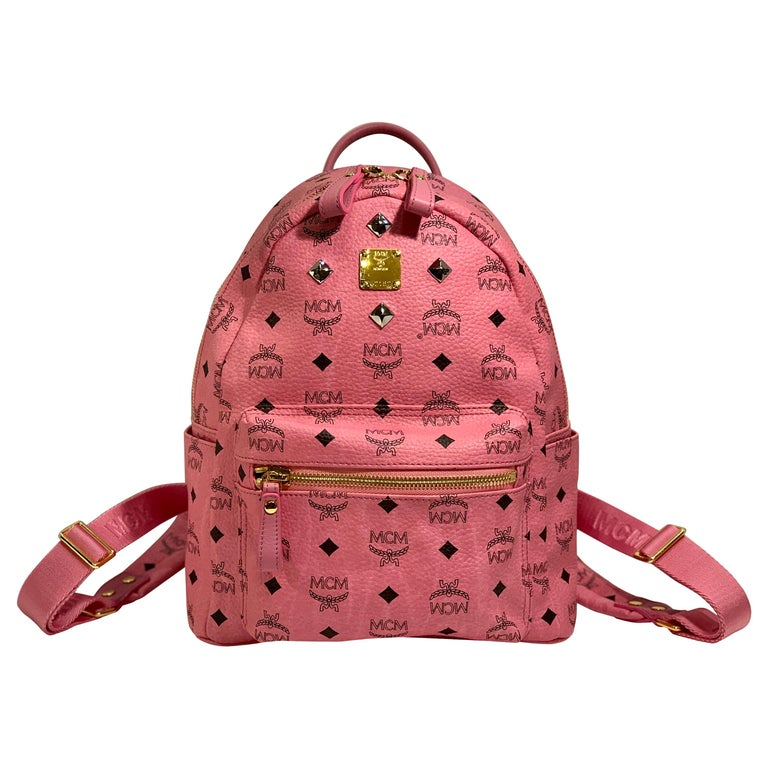 MCM Worldwide Medium Stark Backpack Pink and Black Visetos with Gold Studs For Sale