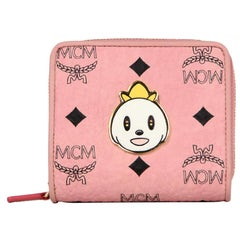 MCM x Eddie Kang New Pink Monogram Visetos Loveless Mini Zip Around Wallet