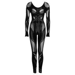 McQ Alexander McQueen black fishnet mesh jumpsuit, fw 2011