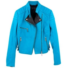 MCQ Alexander McQueen Blue Leather Jacket - Size US 2
