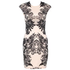 McQ by Alexander McQueen Bicolor Lace Printed Jersey Fitted Dress XS