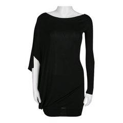 McQ By Alexander McQueen Black Draped Knit Asymmetric Top XS