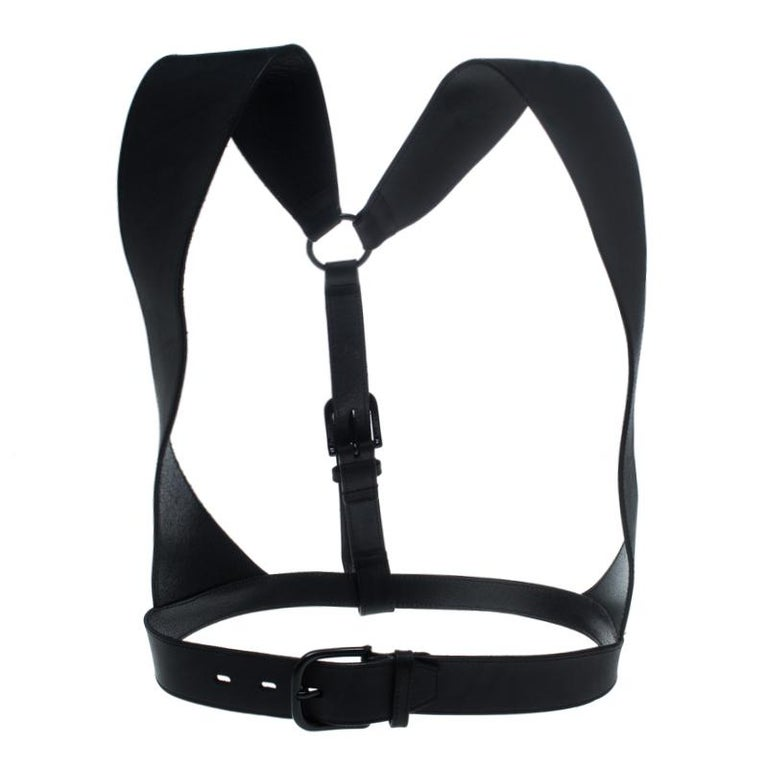 McQ by Alexander McQueen Black Leather Harness Belt Size S For Sale