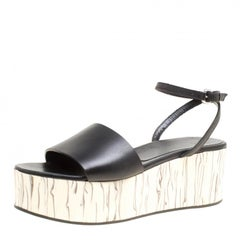 McQ by Alexander McQueen Black Leather Wooden Platform Ankle Wrap Sandals Size 3
