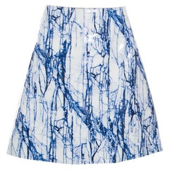 McQ by Alexander McQueen Blue and White Marble Printed Glazed Leather A Line Ski