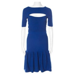 McQ by Alexander McQueen Blue Jersey Cut Out Neck Detail Fitted Fishtail Dress S