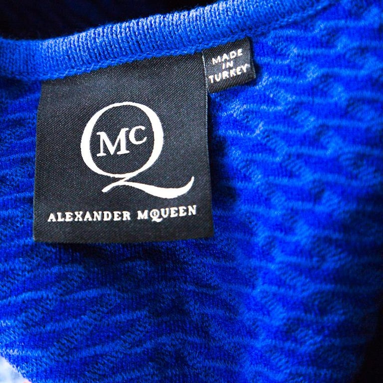 McQ by Alexander McQueen Blue Jersey  Neck Detail Fitted Fishtail Midi Dress S For Sale 1