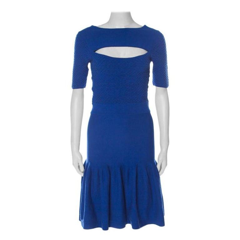 McQ by Alexander McQueen Blue Jersey  Neck Detail Fitted Fishtail Midi Dress S For Sale