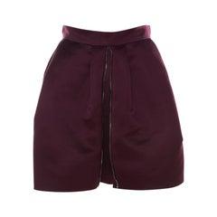 McQ by Alexander McQueen Burgundy Satin Zip Detail Duchess Skirt S