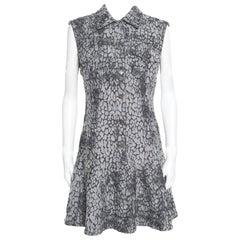 McQ by Alexander McQueen Grey Animal Patterned Jacquard Denim Sleeveless Dress M