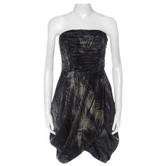 McQ by Alexander McQueen Moss Green and Black Feather Printed Strapless Dress M