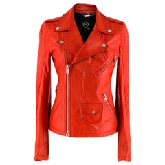 McQ by Alexander McQueen Red Asymmetric Leather Biker Jacket
