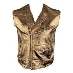 MCQ by ALEXANDER MCQUEEN Size 42 Rose Gold Metallic Leather Biker Vest