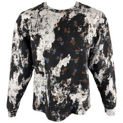 MCQ by ALEXANDER MCQUEEN Size L Black & White Floral Distressed Print Cotton Ble