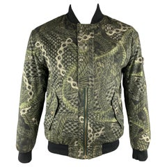 MCQ by ALEXANDER MCQUEEN Size M Olive Print Cotton Bomber Jacket