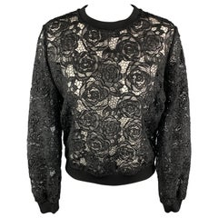 MCQ by ALEXANDER MCQUEEN Size S Black Lace Crewneck Zipper Pullover Sweater