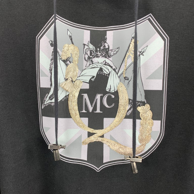 MCQ by ALEXANDER MCQUEEN Size XS Black Embellishment Cotton Hooded Sweatshirt In Good Condition For Sale In San Francisco, CA