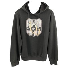 MCQ by ALEXANDER MCQUEEN Size XS Black Embellishment Cotton Hooded Sweatshirt