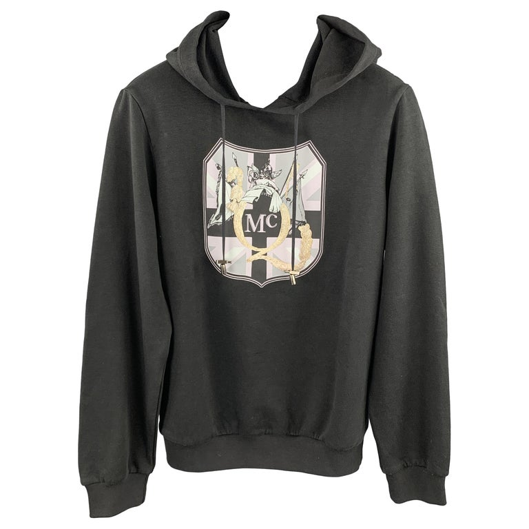 MCQ by ALEXANDER MCQUEEN Size XS Black Embellishment Cotton Hooded Sweatshirt For Sale