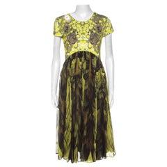 McQ by Alexander McQueen Yellow & Brown Digital Print Jersey & Silk Dress XL