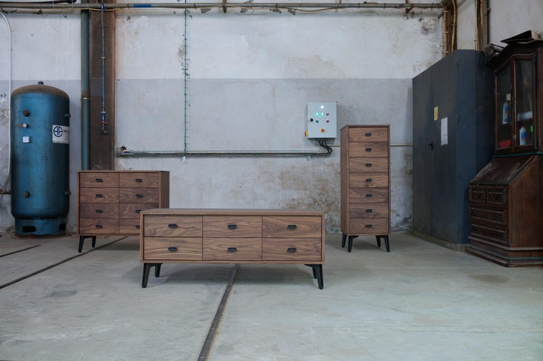 McQueen chests are strong, elegant and down-to-Earth and their wide body and numerous drawers provide maximum storage space. The drawers are detailed with dovetail joinery, cast iron handles, and soft-closing piston action.