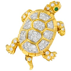 McTeigue 2.20 Carat Diamond Emerald Platinum-Topped 18 Karat Gold Turtle Brooch