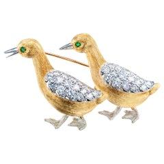 McTeigue Diamond Emerald Gold Platinum Bird Brooch