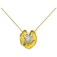 McTeigue Diamond Emerald Platinum 18 Karat Gold Lily Pad Frog Necklace