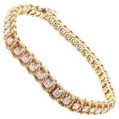 McTeigue Diamond Yellow Gold Tennis Bracelet
