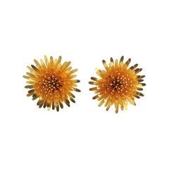 McTeigue & McClelland 18 Karat Gold Dandelion Earrings with Green Enamel Back