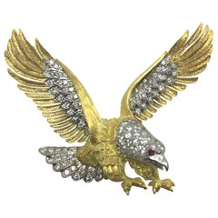 McTiegue Diamond Ruby Eagle Brooch