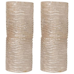 Md-Century Modern Organic Ribbed and Textured Glass Sconces