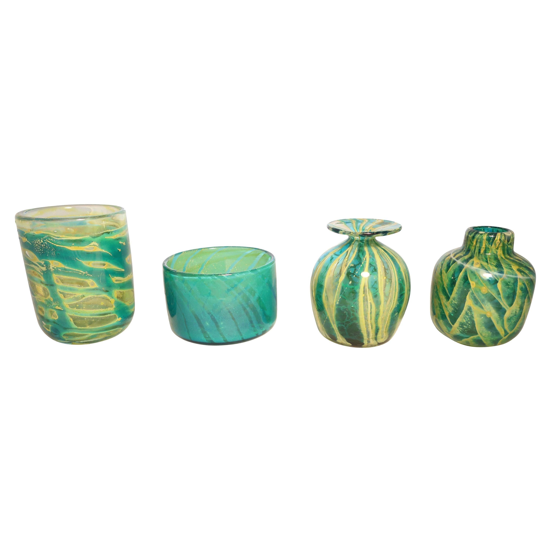 Mdina Glass Vases and Bowl from Malta, circa 1960