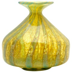 Mdina Solifleur Vase with Wide Rimmed Mouth and Bubble Inclusions, 1970s