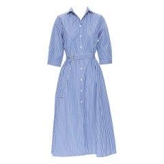 M.D.S. STRIPES 100% cotton blue white stripe belted cotton dress US0 XS