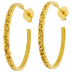 18k Me & Ro Hoop Earrings, Paisley Collection 18 Karat Gold Hoop, Original