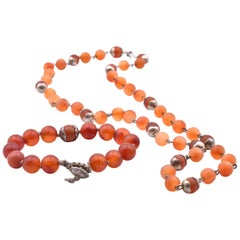 Me & Ro. Sterling Silver Beaded Carnelian Necklace and Bracelet Set