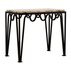 'Méandre' Black Iron and Silver Travertine Side Table by Design Frères