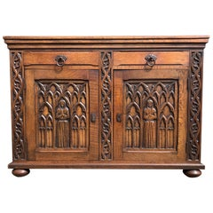Meaningful Gothic Revival Cabinet / Small Credenza with Praying Nun Sculptures