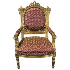 Meant for Royalty French Louis XV Giltwood Armchair