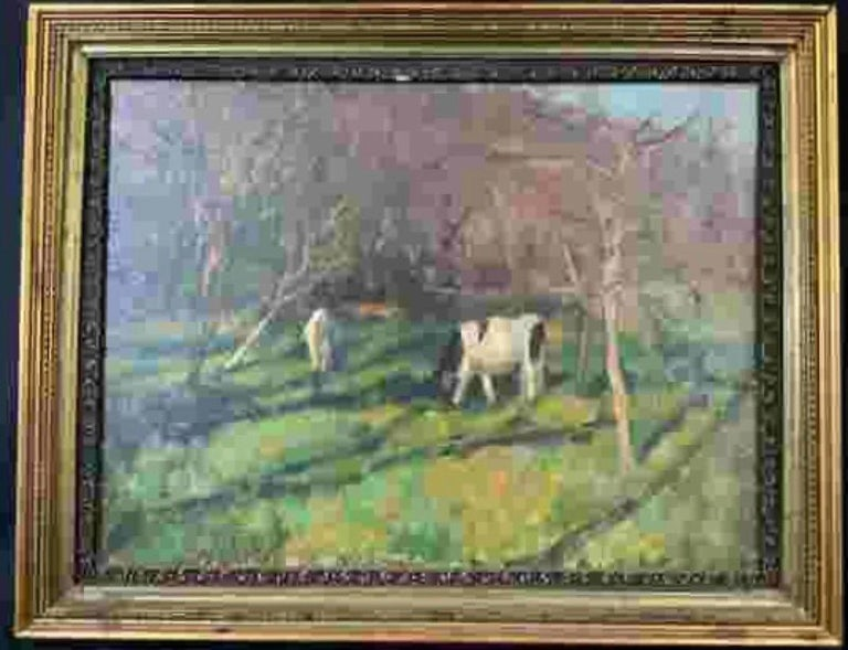 Susan Grisell, American artist, signed, oil on canvas, abstract art. Impressionist-esque depiction of two cows standing amongst trees, measures 22 1/2 x 28 1/2 inches in gilt wood frame. Landscape, 20th century art, contemporary art. Signature on