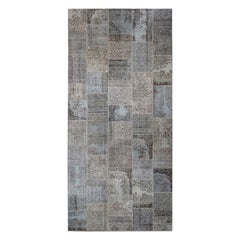 MeatPacking Patchwork Argento Wool Cotton Rug by Deanna Comellini
