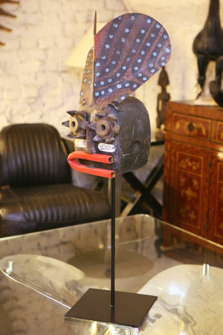 French Mecano Smile Sculpture in Handcrafted Metal Wrought For Sale