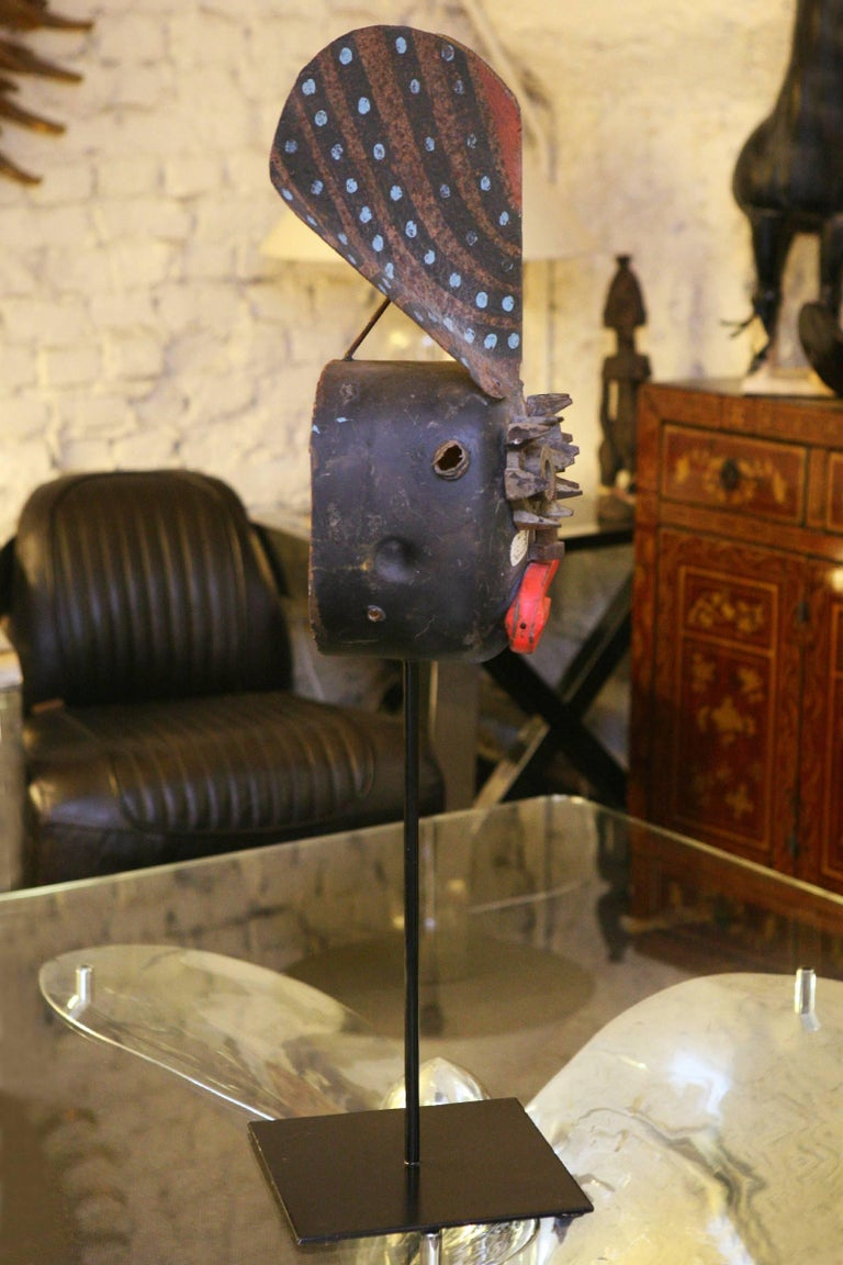 Mecano Smile Sculpture in Handcrafted Metal Wrought In Excellent Condition For Sale In Paris, FR
