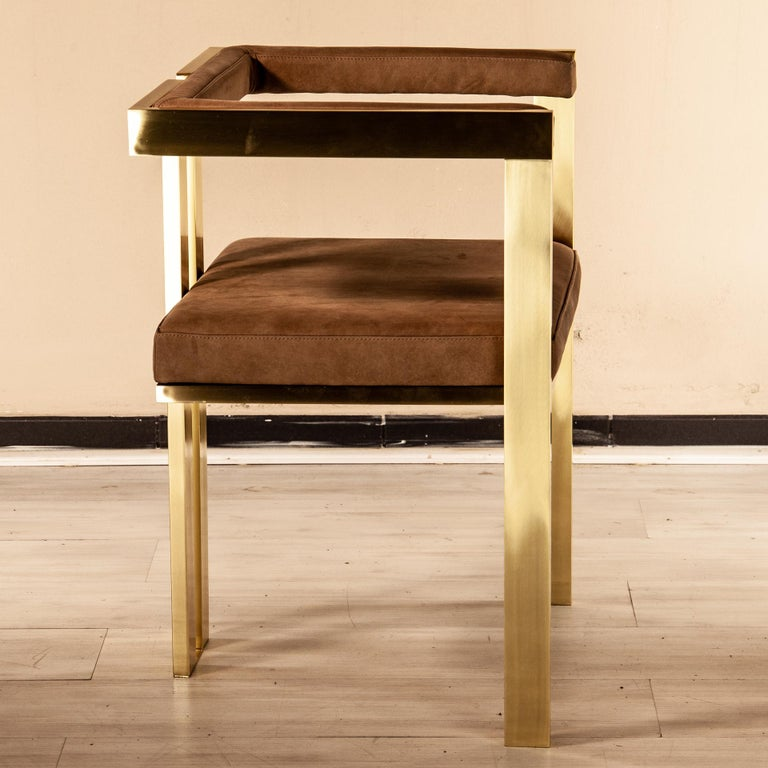 Meccano Armchair, Solid Brass Frame, Luxury Manufacturing by Selezioni Domus For Sale 7