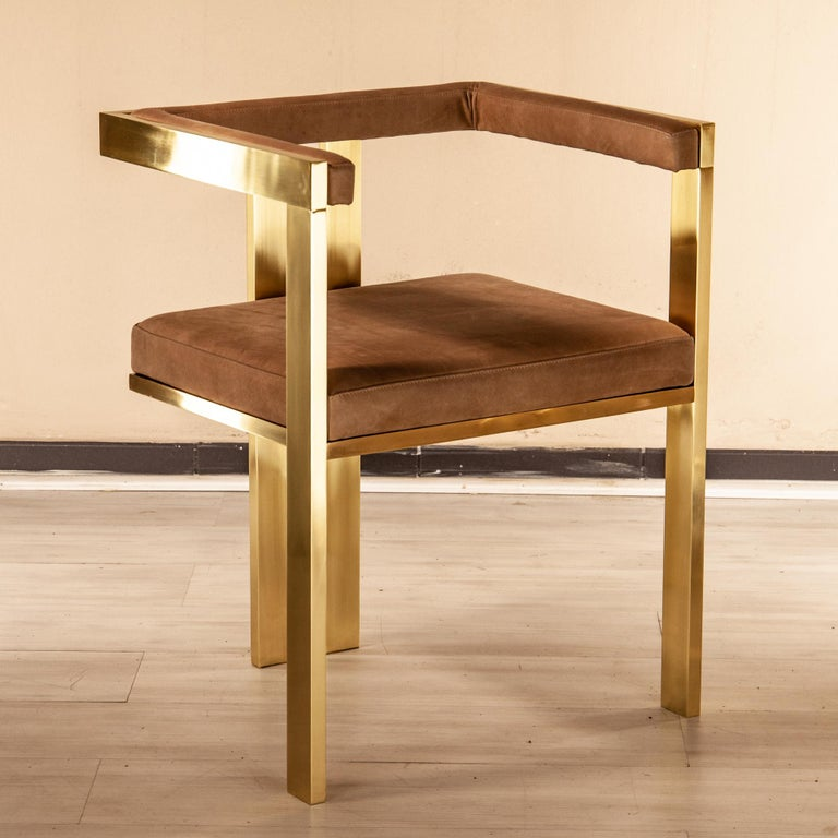 Meccano Armchair, Solid Brass Frame, Luxury Manufacturing by Selezioni Domus For Sale 8