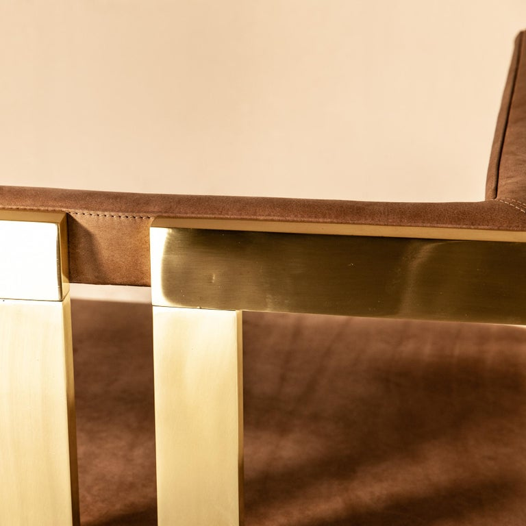 Meccano Armchair, Solid Brass Frame, Luxury Manufacturing by Selezioni Domus For Sale 11