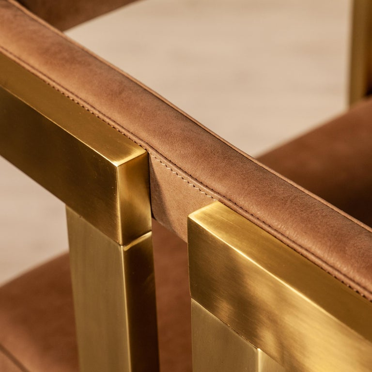 Meccano Armchair, Solid Brass Frame, Luxury Manufacturing by Selezioni Domus For Sale 15