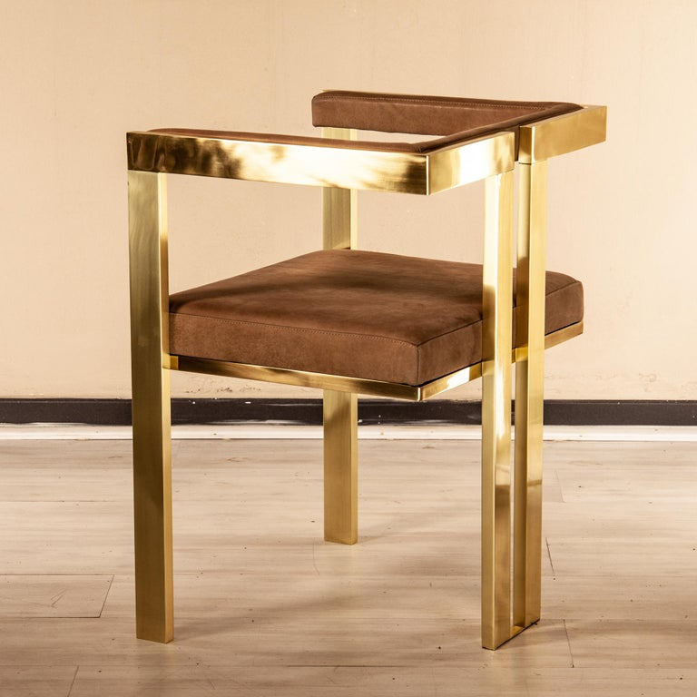 Meccano Armchair, Solid Brass Frame, Luxury Manufacturing by Selezioni Domus For Sale 2